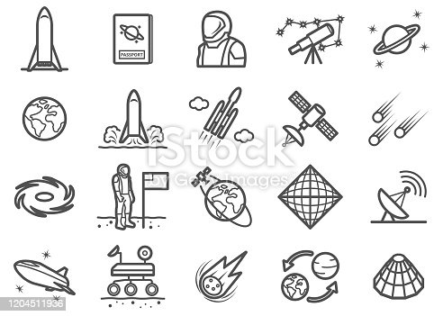 There is a set of icons about space exploraion and related stuffs in the style of Clip art.