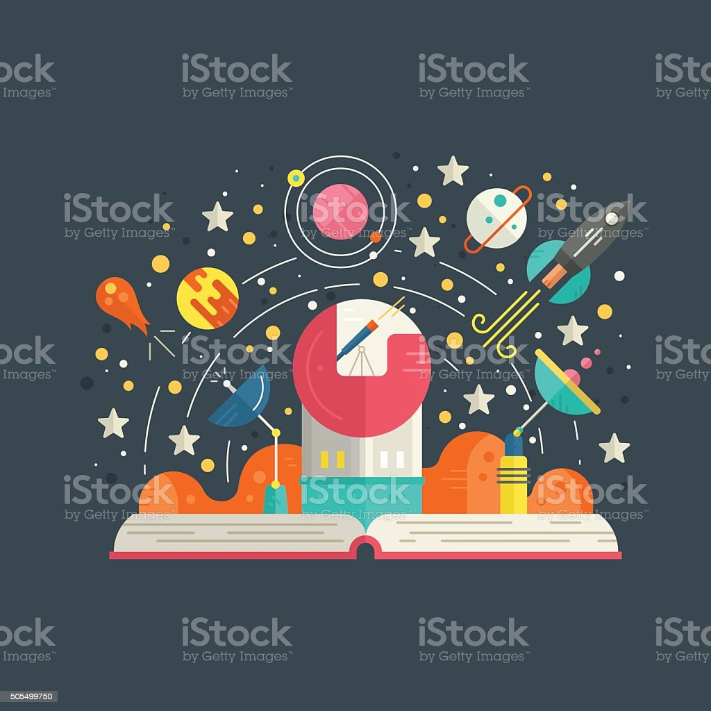 Space Exploration vector art illustration