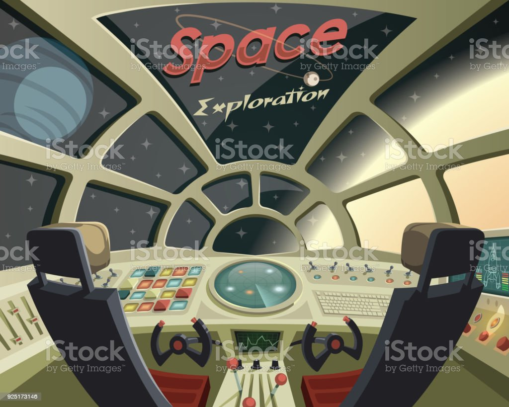 Space Exploration ,view from the spaceship cockpit vector art illustration