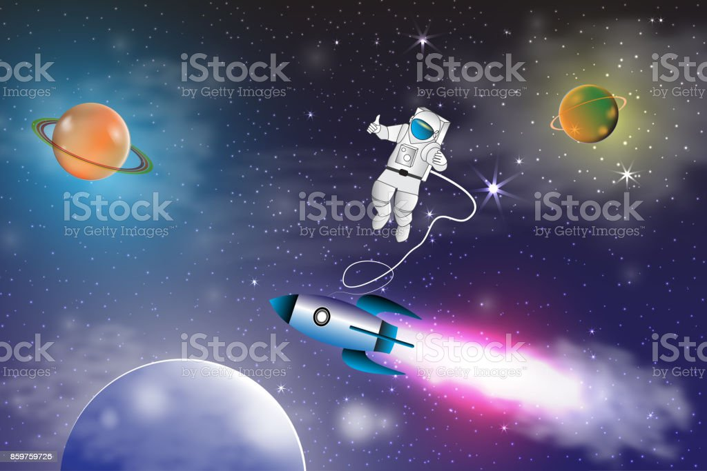 Space Exploration With Retro Rocket Planets Stars And Astronaut On Background Rays