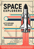 istock Space explorers. Rocket or shuttle launch 1215324442