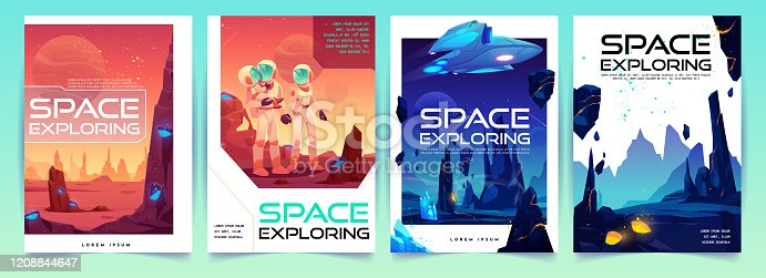Space exploring banners set with alien fantasy landscape background and astronauts family on red planet surface. colonization concept for computer game or poster design. Cartoon vector illustration