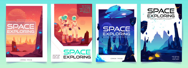 Space exploring banners set with alien landscape vector art illustration
