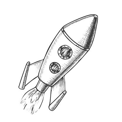 Space Exploring Launch Rocket Monochrome Vector