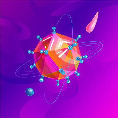 Space fantasy planet, asteroid, moon, fantastic world game vector cartoon icon, illustration in virus style. Color asteroid and planet, illustration fantastic universe cartoon planets. Fantasy colorful planet