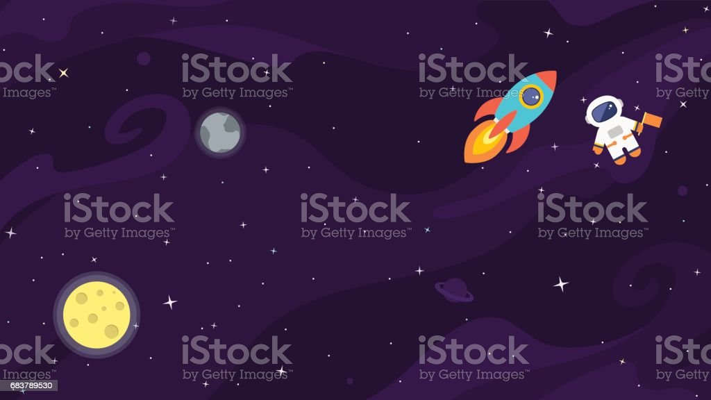 Space flat cute vector background. - illustrazione arte vettoriale