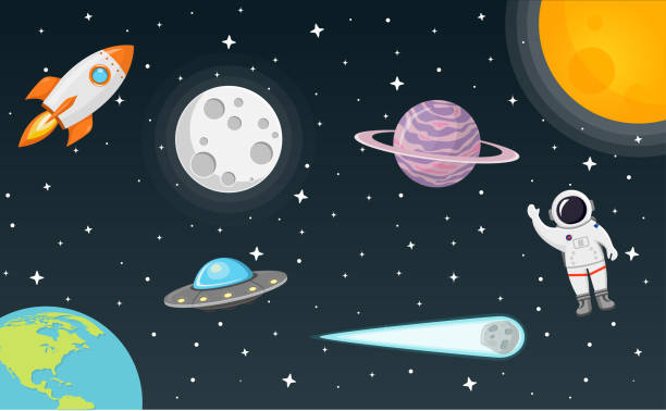 space Flat Design space with moon, sun, rocket, planet earth, comet, ufo, planet and astronaut moon surface stock illustrations