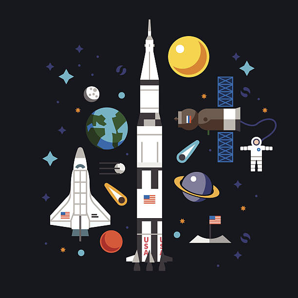 Space flat icon set Vector of astronaut, satellite, sun, moon, comet, planets in flat style aviation and environment summit stock illustrations