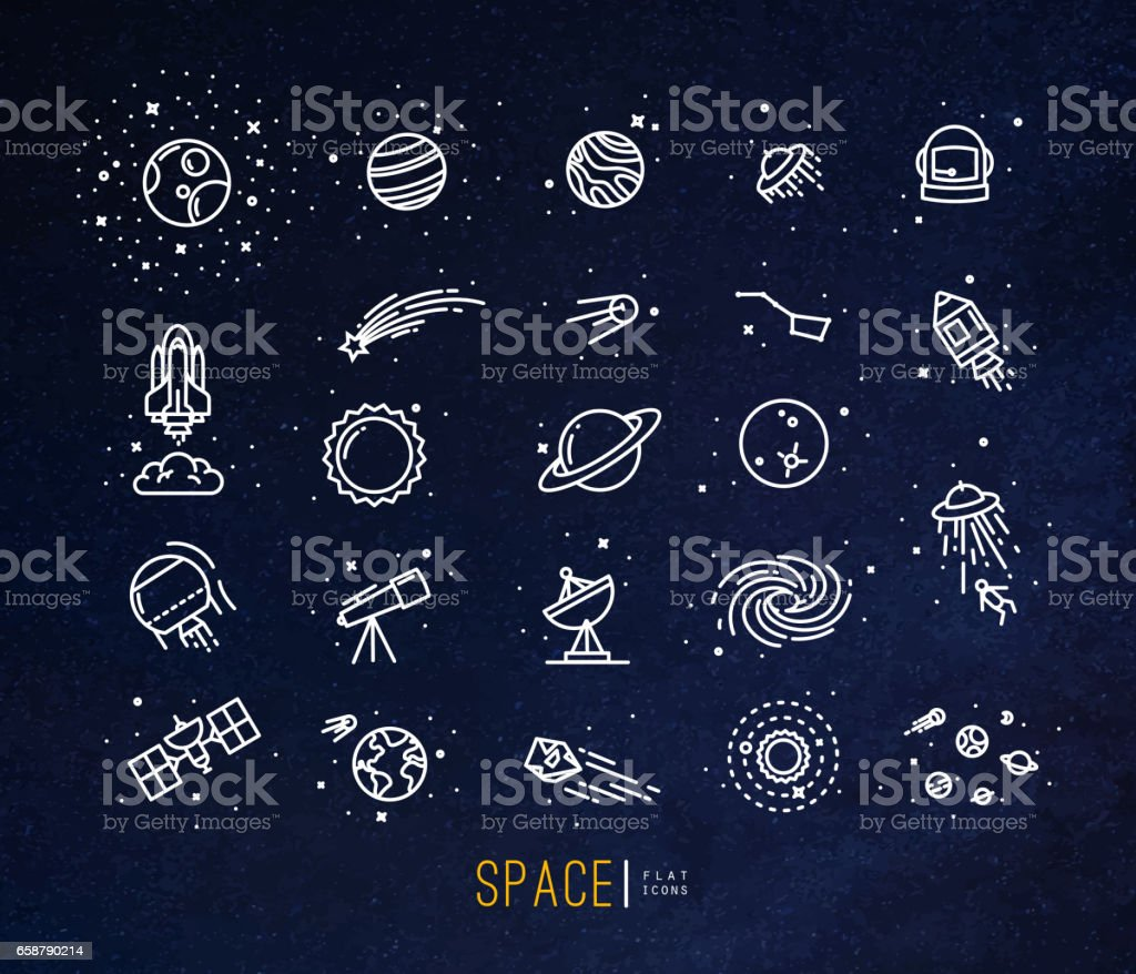 Space flat icons blue vector art illustration