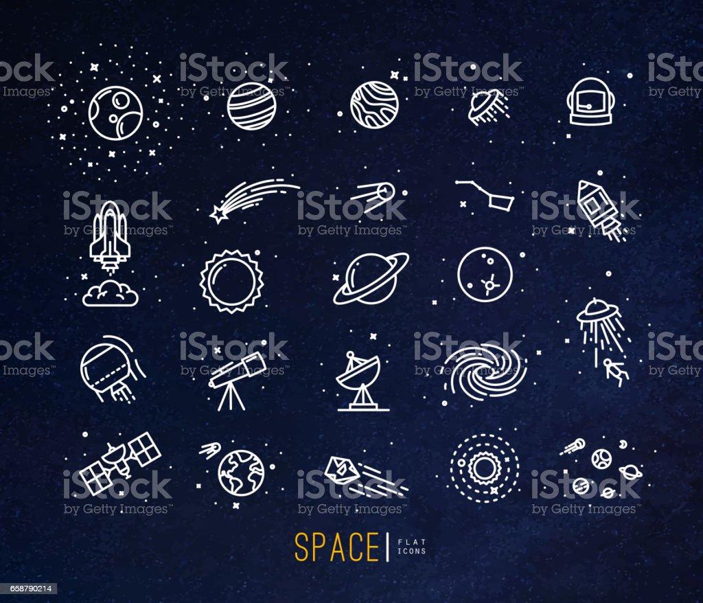 Ícones de plana espaço azuis - ilustração de arte em vetor