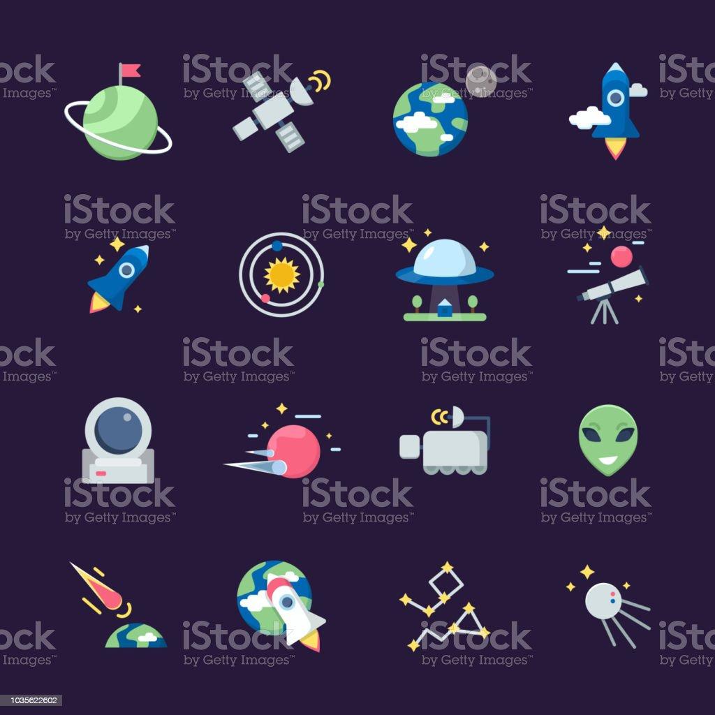 Ilustración De Iconos Planos De Espacio Telescopio Satelital Nave