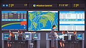 Space flight center room interior with working personnel engineer team sitting at desks looking at big screen. Mission control orbital parameters and trajectories overseeing rocket launch, flight and landing. Flat style isolated vector