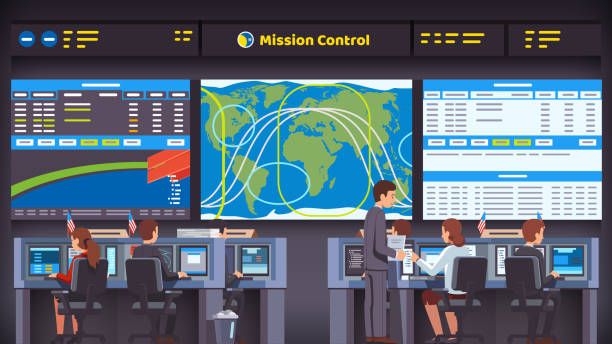 Space flight center room interior with working personnel engineer team sitting at desks looking at big screen. Mission control orbital parameters and trajectories overseeing rocket launch, flight and landing. Flat style isolated vector Orbital space flight mission control center room interior. Engineers people working at their desks & computers overseeing rocket launch, flight and landing. Flat style vector illustration mission control stock illustrations