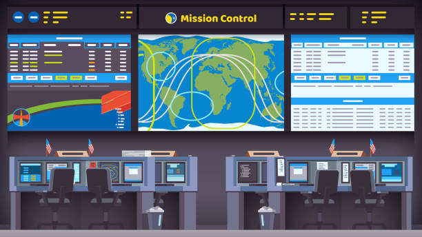Space flight, launch & landing mission control room with big screen with rocket orbital parameters and trajectories. Flat style isolated vector Orbital space flight mission control center room interior with satellite tracking display screen, flight data panel & empty scientist workplace seat with desks & computers. Flat vector illustration mission control stock illustrations