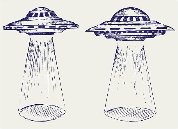 stockillustraties, clipart, cartoons en iconen met space flying saucer - ufo