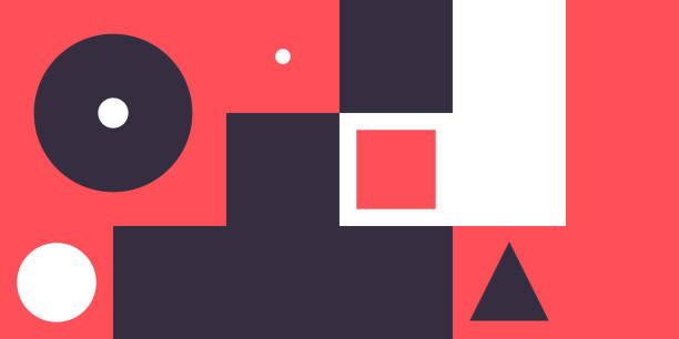 platz für text-minimale geometrische web-banner-design - bauhaus stock-grafiken, -clipart, -cartoons und -symbole