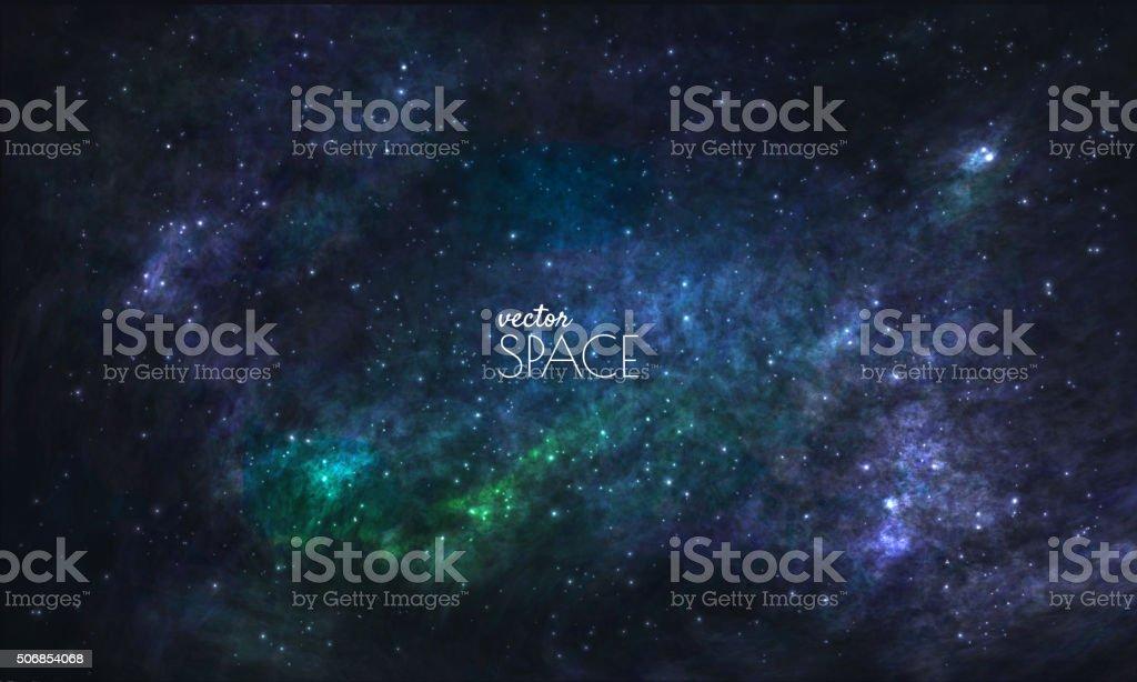 Raum Galaxy Hintergrund mit Nebel, Stardust und hellen Sternen – Vektorgrafik