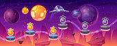 istock Space game level map spaceship and alien planets 1271180817
