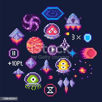 istock Space Game Pixel Art, Aliens and Spaceship Icons 1286460341
