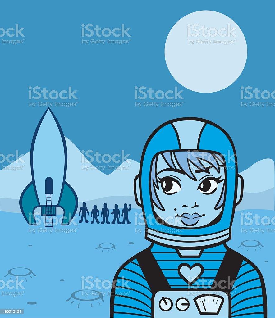Chica de espacio - arte vectorial de Accesorio de cabeza libre de derechos