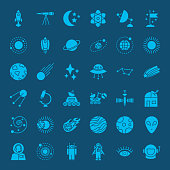 Space Glyph Web Icons. Vector Set of Universe Solid Symbols.