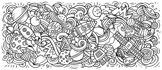 Space hand drawn cartoon doodles illustration. Sketchy vector banner