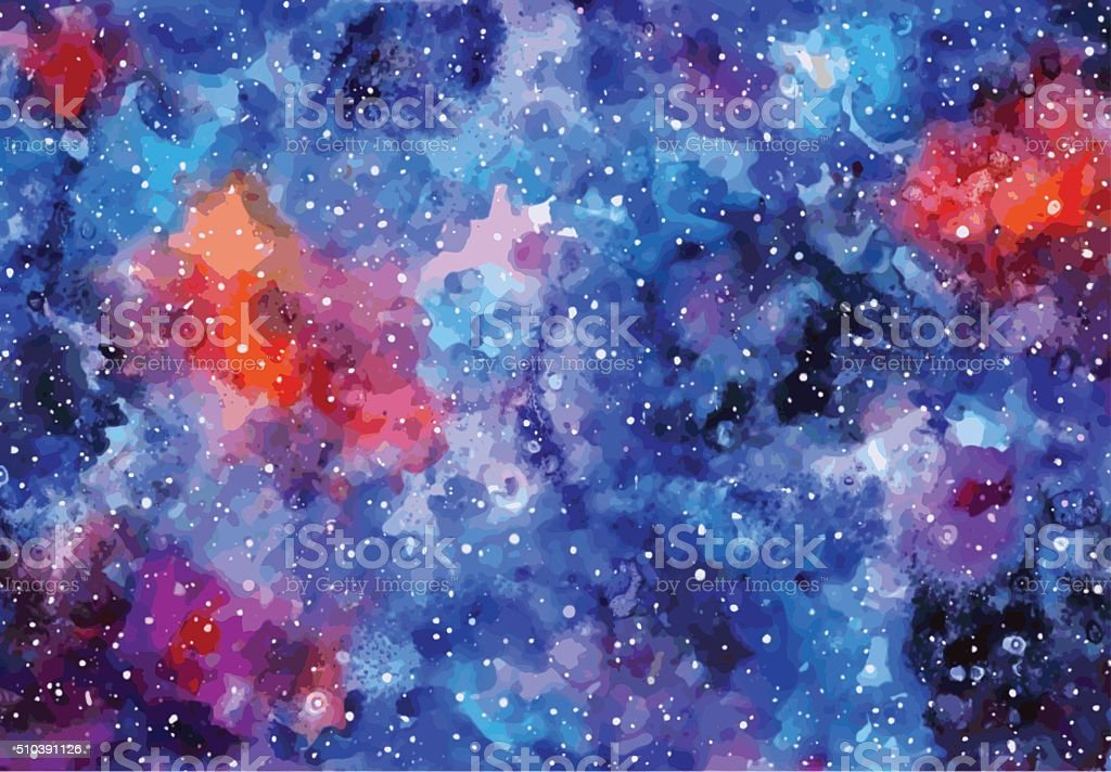 Space hand painted watercolor background. Great background. vector art illustration