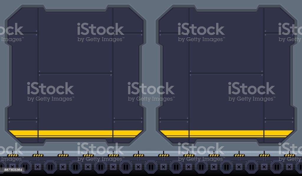 Space Hangar Game Background vector art illustration