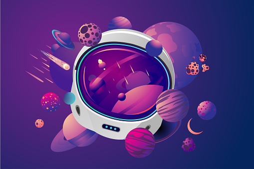Space helmet on isolated background with planet. Astronaut spacesuit with space on reflection. Pilot mask vector clip art