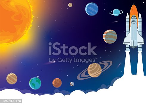 istock Space horizontal background with rocket, planets, cosmonaut and copy space for your text in cartoon style. Concept banner with the solar system for your design. 1307902470