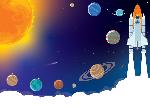 Space horizontal background with rocket, planets, cosmonaut and copy space for your text in cartoon style. Concept banner with the solar system for your design.