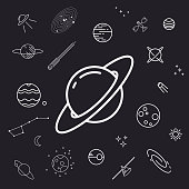Space icon set, planets