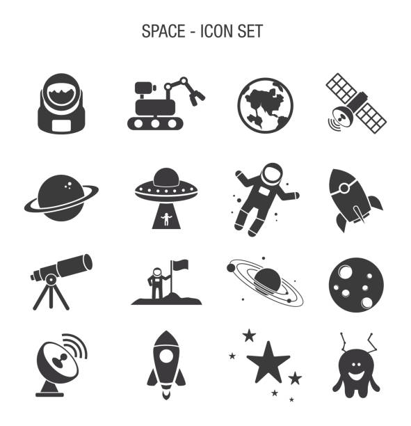 Space Icon Set Vector of Space Icon Set astronaut floating in space stock illustrations