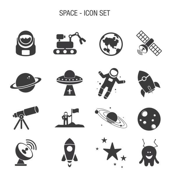 stockillustraties, clipart, cartoons en iconen met ruimte icon set - buitenaards wezen