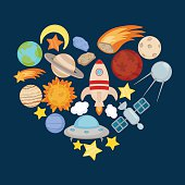 Space icons in the shape of heart.