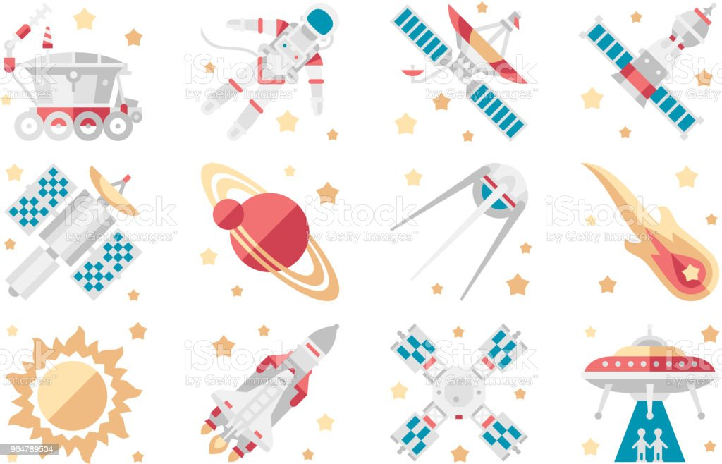 Space icons set, space shuttle, spaceship, orbital satellite, cosmic rocket, mars rover, space station, astronaut, ufo vector Illustrations on a white background royalty-free space icons set space shuttle spaceship orbital satellite cosmic rocket mars rover space station astronaut ufo vector illustrations on a white background stock illustration - download image now