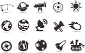 A set of royalty-free space icons denoting the explorations of man.