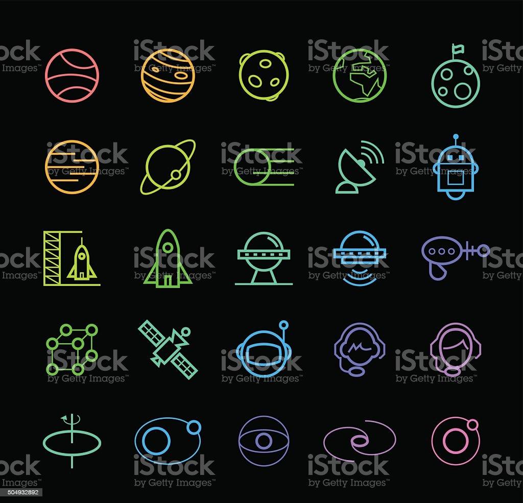 Icônes de l'espace. - Illustration vectorielle