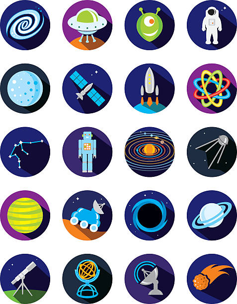 Space icons vector art illustration