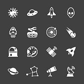 Space Icons White Series Vector EPS File.