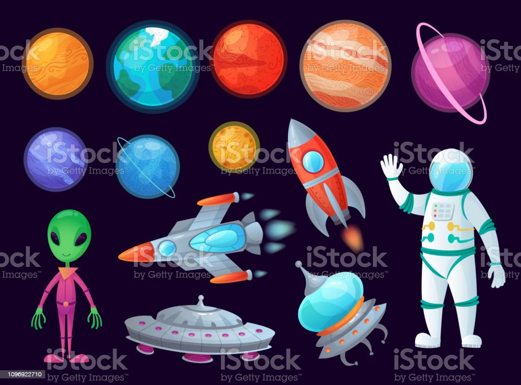 Space Items Alien Ufo Universe Planet And Missile Rockets