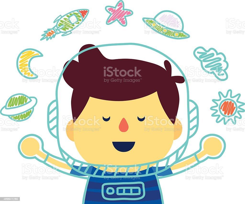 Space kid in imagine vector art illustration