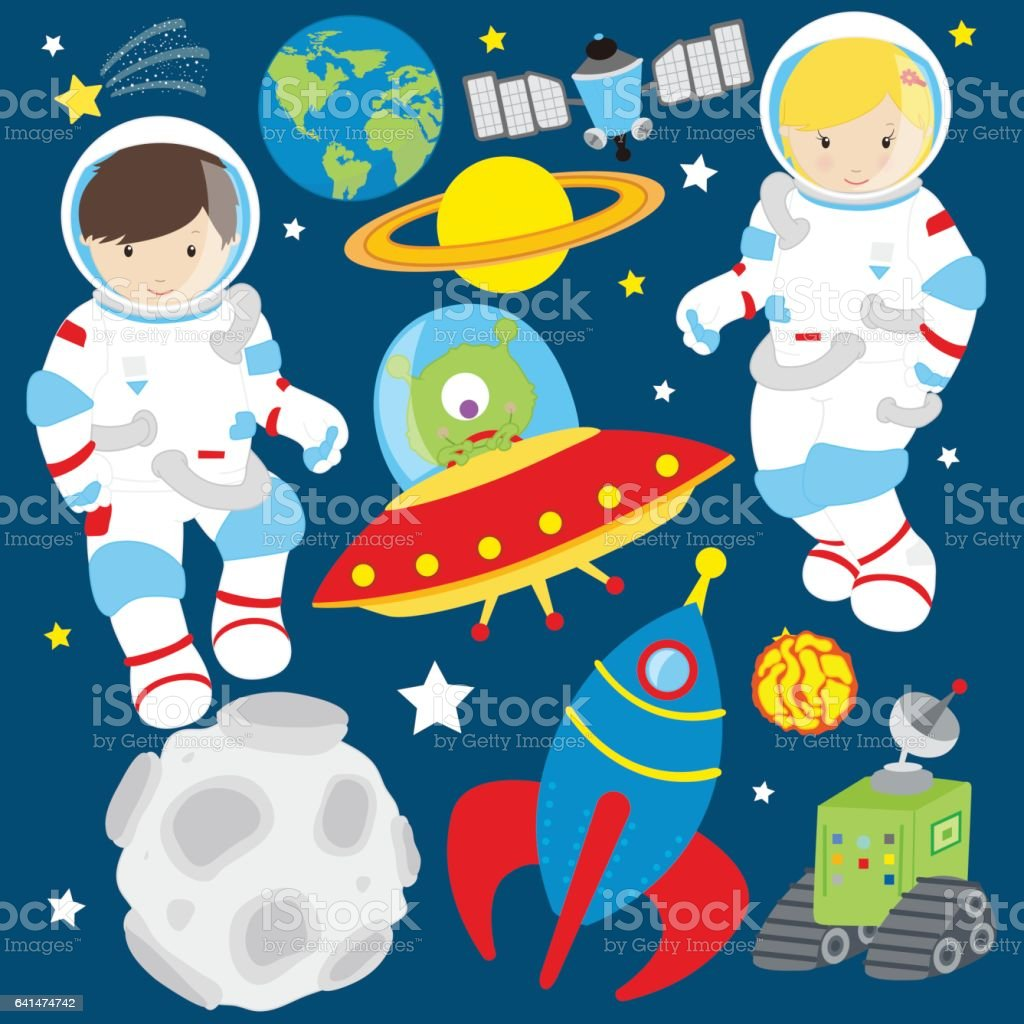 Space kids with space rocket vector art illustration