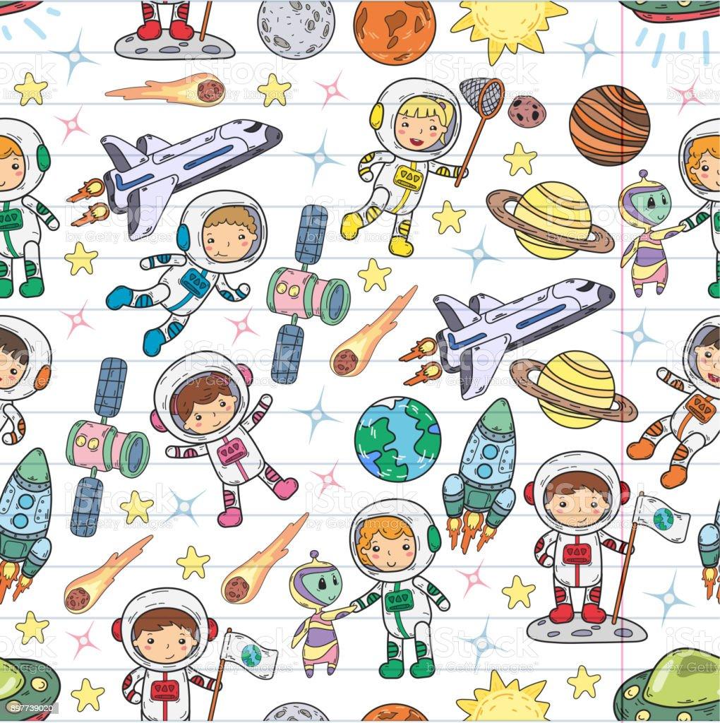 Space Kindergarten, school Astronomy lesson Children, doodle kids illustration Ufo, alien, Moon surface, Earth, Jupiter, Saturn, Mars Vector icons vector art illustration