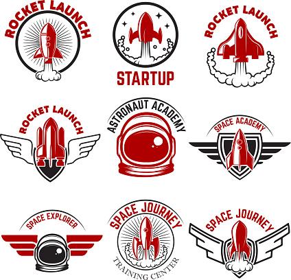 Space labels. Rocket launch, astronaut academy. Design elements for label, emblem, sign. Vector illustration.