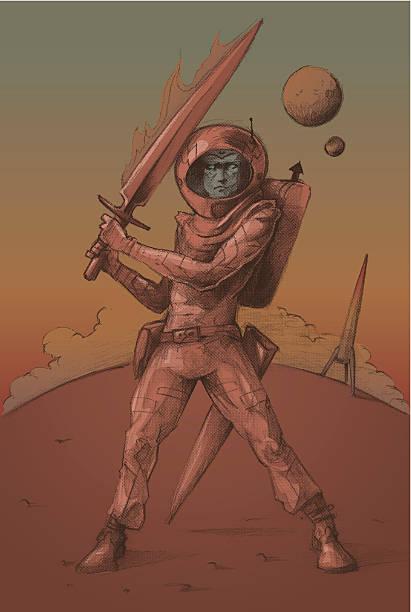 space landing vector art illustration