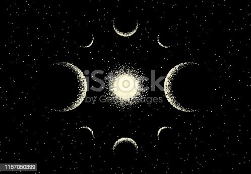 Space landscape with scenic view on planet and stars made with retro styled dotwork