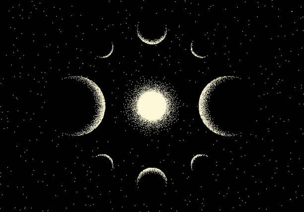 illustrations, cliparts, dessins animés et icônes de paysage d'espace avec la vue scénique sur la planète et les étoiles faites avec le modèle rétro de dotwork - ciel etoile