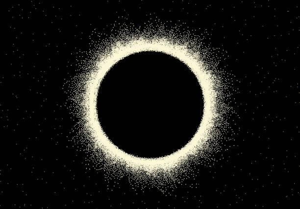 illustrations, cliparts, dessins animés et icônes de paysage spatial avec vue panoramique sur l'éclipse solaire faite avec le style de dotwork transformé rétro - ciel etoile