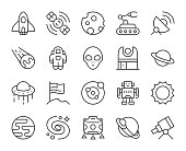 Space Light Line Icons Vector EPS File.